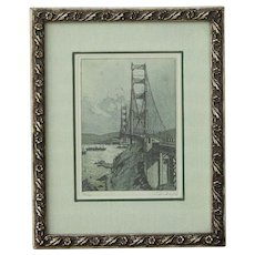 Josef Eidenberger (1899 -1991) small etching of Golden Gate Bridge San Francisco pencil signed