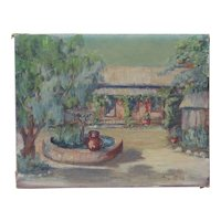 American Southwestern impressionist oil on canvas painting of residence with fountain mid century artist Klara Ford