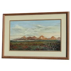 Roy Donley American American artist watercolor painting of Teton Mountain Range in the US state of Wyoming