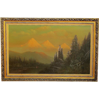 FREDERICK SCHAFER (1839-1927) American early California listed artist large oil painting of Three Sisters Mountains in Oregon