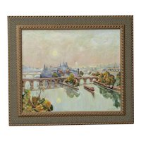 Branislav ZENDELSKI (1936) impressionist oil painting of bridges over the Seine river Paris France 1991