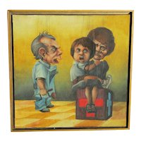 Whimsical painting of three puppet figures in a play by California artist Rose Cooper