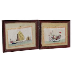 PAIR 19th Century Chinese Export paintings on pith paper of junk boats