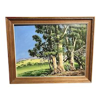 California art impressionist plein air eucalyptus landscape  painting by  artist George Allison Foxen Canyon blue sky