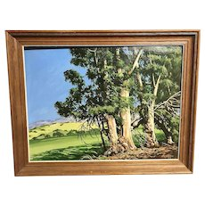 California art impressionist plein air landscape acrylic painting by  artist George Allison circa 2001 Foxen Canyon eucalyptus