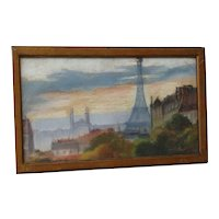 Paris rooftop Eiffel Tower  impressionist early 20th century  French pastel painting  signed Schugk