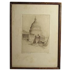 Capitol - East front building Washington DC pencil signed etching Waldo Peirce