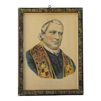 "Religious historical art Currier & Ives original lithograph print ""POPE PIUS IX"""