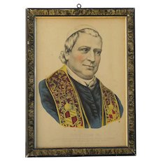"Religious historical art Currier & Ives original lithograph print ""POPE PIUS IX"""