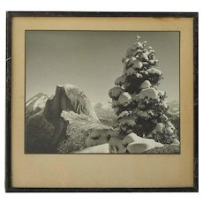 "Vintage black and white photograph of Half Dome Yosemite signed ""Ballard"" titled ""FIRST SNOW"""