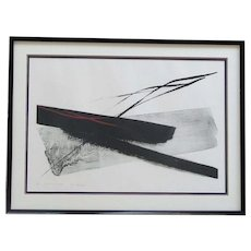 """Toko Shinoda (1913 -) Japanese well listed artist abstract color lithograph signed in pencil title """"Deep Winter"""""""