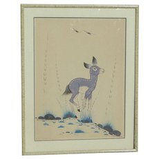 Woodrow Wilson Big Bow (1914-1988) Native American art original gouache drawing of a deer