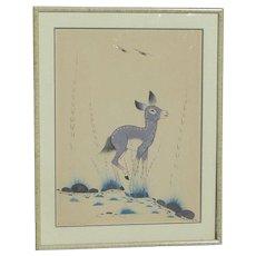 Woodrow Wilson Big Bow (1914-1988) Native American art original gouache drawing of a deer