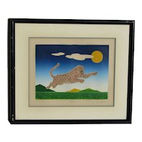 Misha Lenn  limited edition color lithograph sunny day leopard jumping over green mountains pencil signed and numbered