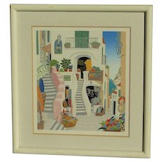 Thomas McKnight Contemporary American listed artist color lithograph street scene with flowers and steps in Mediterranean town