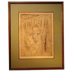 Contemporary French impressionist etching of a two young women faces by listed artist Etienne Ret (1900- 1996)