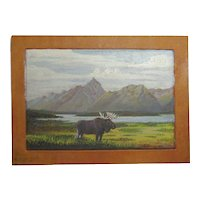 J. Stringham artist small oil painting of a moose in mountain lake landscape