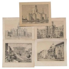 Ernest David Roth (1879-1964) German- American well listed artist set of 5 architectural etchings of Universities unsigned