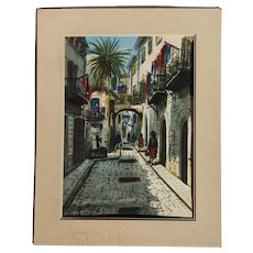 G. Molina sunny lane street scene in Latin town watercolor painting