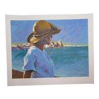 "Aldo Luongo (1940 -) pencil signed limited edition art serigraph print ""Ocean Girl"""
