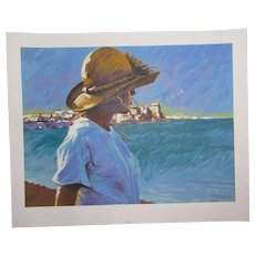 "Aldo Luongo (1940 -) pencil signed limited edition art serigraph print ""Ocean Girl"""