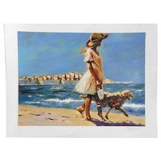 "Aldo Luongo (1940 -) pencil signed art large print serigraph print ""Morning walk"" young girl walking with the dog on the beach"
