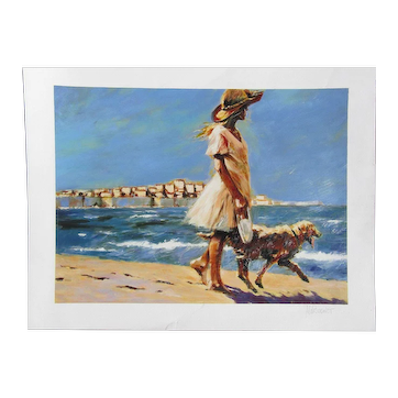 """Aldo Luongo (1940 -) pencil signed art large print serigraph print """"Morning walk"""" young girl walking with the dog on the beach"""