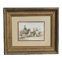 Orientalist 19th century color lithograph of camels and mounted figures by Emile Prisse d'Avennes