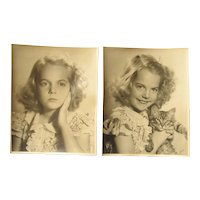 Pair original black and white photographs of a portrait girl with a cat early 20th century