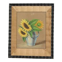 Original still life pastel drawing of sunflowers in a vase signed by artist early 20th century