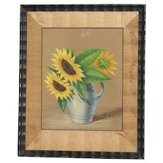 Original still life pastel painting of sunflowers in a vase signed by artist early 20th century