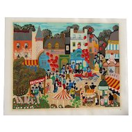 """Claudine"" colorful French naive folk art city scene pencil signed original serigraph unframed"