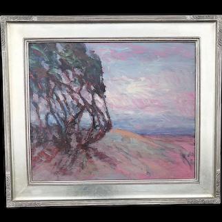 Juan Guzman listed artist California art impressionist plein air landscape painting cypress trees Monterey
