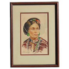 Filipino art portrait of a young beautiful woman watercolor painting dated 1956 signed R.Fernandez