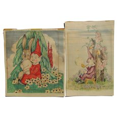 Hilda Gentry Mid Century colorful drawing of elves or munchkins in fantasy landscapes