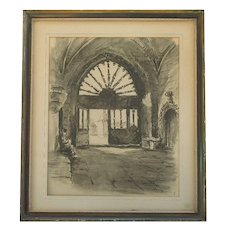 Signed vintage charcoal drawing of figure in a church vestibule