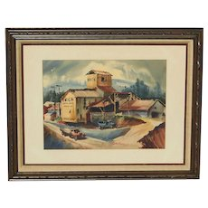 Dale Matthews listed American artist mid century watercolor painting of industrial brick works