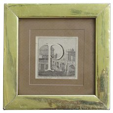 Luigi Vanvitelli  18th century letter monogram P miniature engraving
