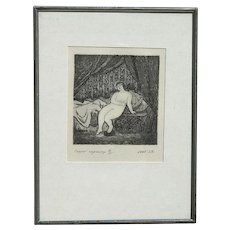 Contemporary European impressionist copper engraving of nude woman in baldachim interior pencil signed numbered