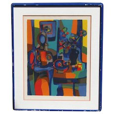 "Marcel Mouly (1918-2008) color lithograph by noted  French modernist artist pencil signed abstract ""Woman seated beside the table with vase"""