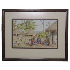 Diana Mallet Veale (1883 -1978) English listed artist watercolor painting of South African village scene