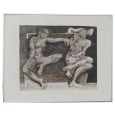 Jan Lebenstein (1930 -1999) original ink and watercolor drawing of a whimsical female and male figures 1968