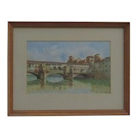 G. Peretti  Ponte Vecchio Covered Bridge Florence  Italy vintage watercolor painting