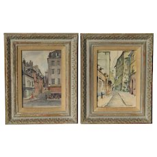 PAIR Paris street scene impressionist watercolor paintings by Lacroix and Bean