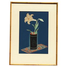 Bakufu Ohno (1888 -1976) Japanese listed artist woodblock print Oban size Lily in bamboo vase