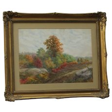 Frederick E. Foster  American artist original watercolor painting of autumn landscape October 1915