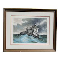 Marine art tugboat on high seas original limited edition lithograph signed by the artist