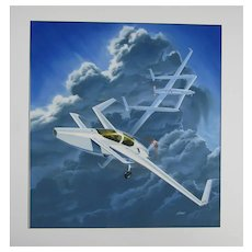 Original aviation art illustration of Burt Rutan Voyager Aircraft Signed by artist