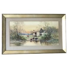 Carl Weber American - German listed artist watercolor painting of country side with cows wading
