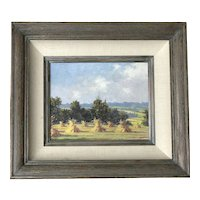 European country side oil painting of fields with hay stag and mountains landscape in a distance Austria